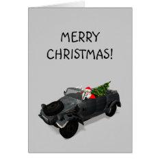 Santa Claus In Kuebelwagen Card at Zazzle