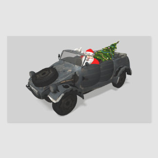 Santa Claus In Kuebelwagen Rectangular Sticker