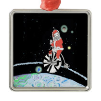 Santa Claus in Outer Space, Waving Metal Ornament