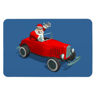 Santa Claus In Red Hot Rod Magnet