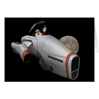 Santa Claus In Spacecraft Greeting Card