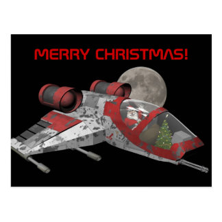 Santa Claus In Spaceship Postcards