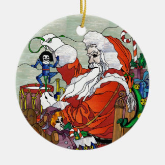 Santa Claus in Stained Glass Ceramic Ornament