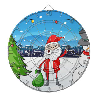 Santa Claus in the middle of the pine tree and the Dartboards