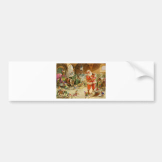 Santa Claus in the North Pole Reindeer Stables Bumper Sticker