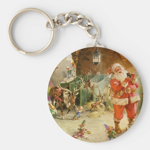 Santa Claus in the North Pole Reindeer Stables Key Chain