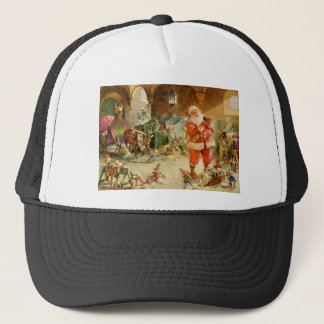 Santa Claus in the North Pole Reindeer Stables Trucker Hat