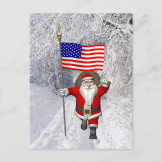 Santa Claus In Winter Scenery Holiday Postcard