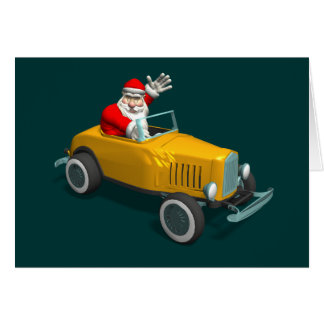 Santa Claus In Yellow Hot Rod Card