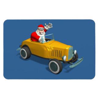 Santa Claus In Yellow Hot Rod Magnet
