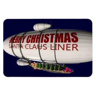 Santa Claus In Zeppelin Rectangular Photo Magnet