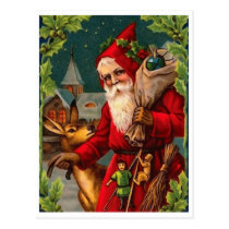 Santa Claus is coming with bag full of gifts Postcard