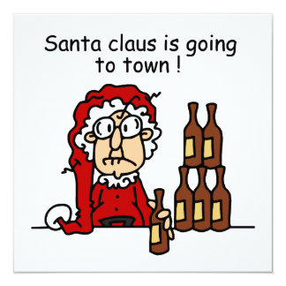 Santa Claus is Going to Town 5.25x5.25 Square Paper Invitation Card