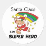 Santa Claus is My Superhero Christmas Round Stickers