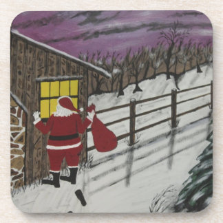 Santa Claus Is Watching Beverage Coaster