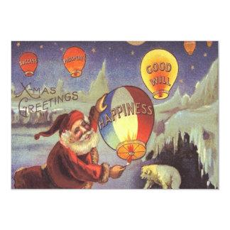 Santa Claus Japanese Lanterns Polar Bear Card