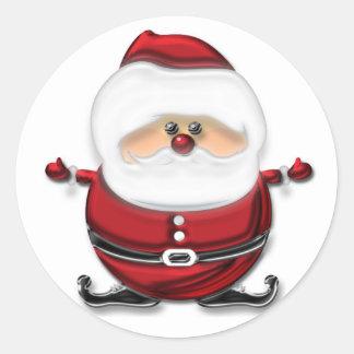 Santa Claus Jumping Round Stickers