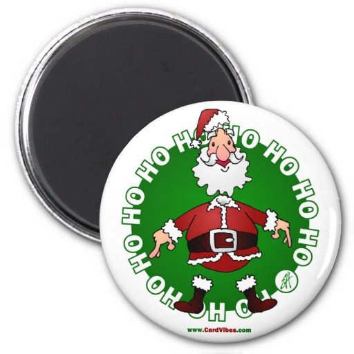 Santa Claus jumps 4 Christmas 2 Inch Round Magnet