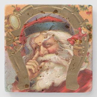 Santa Claus Knows Christmas Stone Beverage Coaster