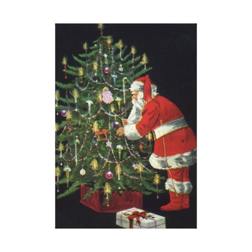 Santa Claus Lighting Candles on the Christmas Tree Stretched Canvas Print