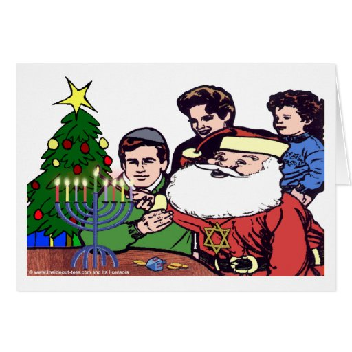 Santa Claus Lighting The Menorah Greeting Card
