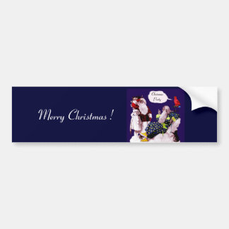 SANTA CLAUS ,LITTLE ANGEL & MERLIN Christmas Party Bumper Sticker