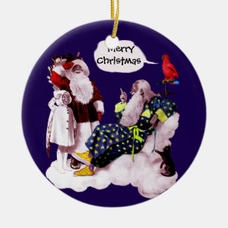 SANTA CLAUS, LITTLE ANGEL & MERLIN Christmas Party Ceramic Ornament