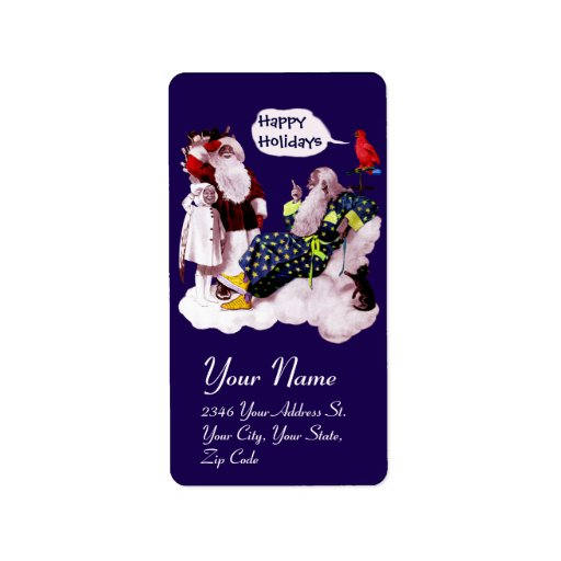 SANTA CLAUS,LITTLE ANGEL& MERLIN Christmas Party Personalized Address Label