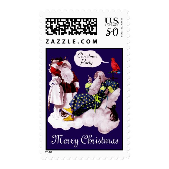 SANTA CLAUS ,LITTLE ANGEL & MERLIN Christmas Party Postage