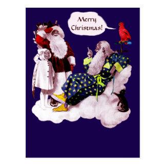 SANTA CLAUS ,LITTLE ANGEL & MERLIN Christmas Party Postcard