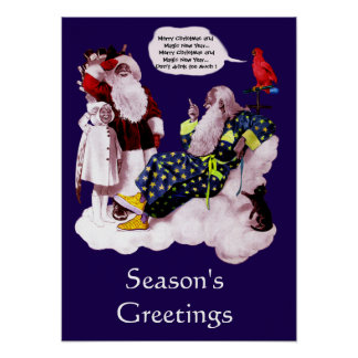 SANTA CLAUS ,LITTLE ANGEL & MERLIN Christmas Party Poster