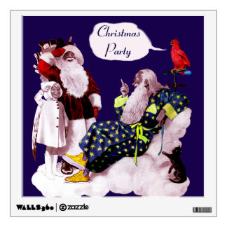SANTA CLAUS ,LITTLE ANGEL & MERLIN Christmas Party Room Stickers