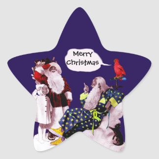 SANTA CLAUS,LITTLE ANGEL& MERLIN Christmas Star Star Sticker