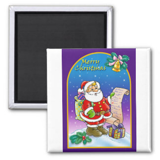 Santa Claus looking at Christmas Wish List 2 Inch Square Magnet