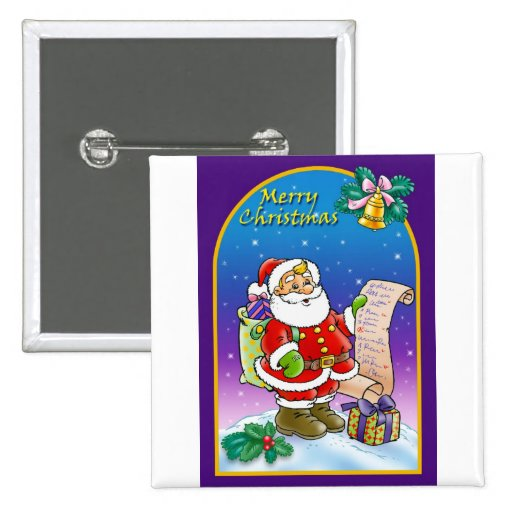 Santa Claus looking at Christmas Wish List 2 Inch Square Button