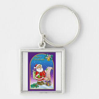 Santa Claus looking at Christmas Wish List Keychains