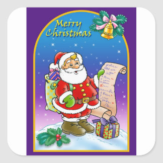 Santa Claus looking at Christmas Wish List Square Sticker