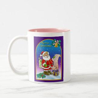 Santa Claus looking at Christmas Wish List Two-Tone Coffee Mug
