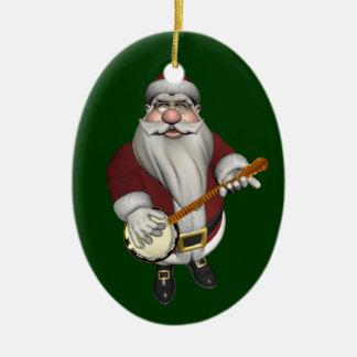 Santa Claus Loves His Banjo Ceramic Ornament