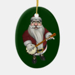 Santa Claus Loves His Banjo Double-Sided Oval Ceramic Christmas Ornament