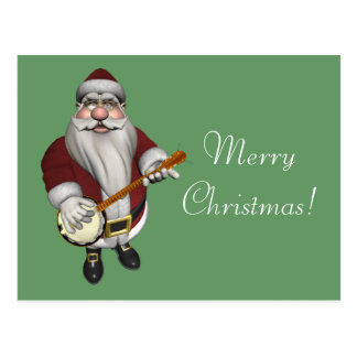 Santa Claus Loves His Banjo Postcard