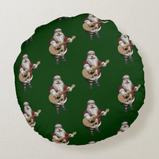 Santa Claus Loves Playing Accoustic Guitar Round Pillow