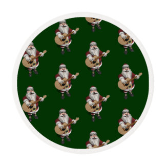 Santa Claus Loves Playing Accoustic Guitar Edible Frosting Rounds