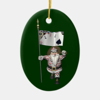 Santa Claus Loves Playing  Poker Ceramic Ornament