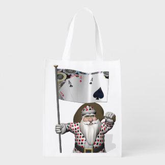 Santa Claus Loves Playing  Poker Grocery Bag