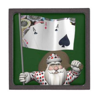 Santa Claus Loves Playing  Poker Keepsake Box