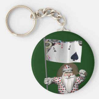 Santa Claus Loves Playing  Poker Keychain