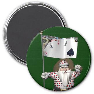 Santa Claus Loves Playing  Poker Magnet