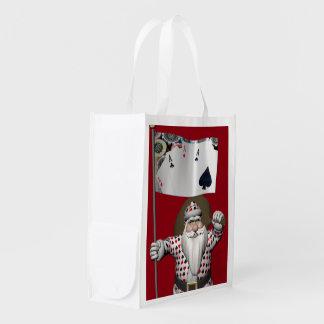 Santa Claus Loves Playing  Poker Reusable Grocery Bag