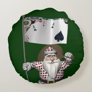 Santa Claus Loves Playing  Poker Round Pillow